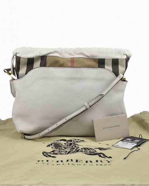 Bolsa Burberry Calfskin House Off White