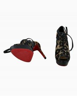 Ankle Boot Christian Louboutin Renda e Animal Print