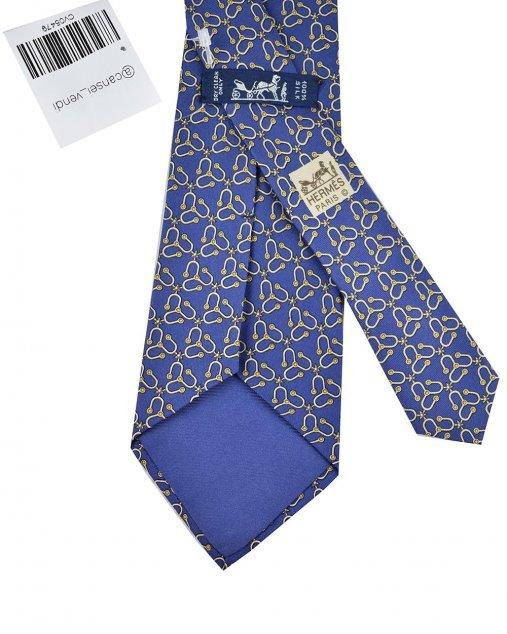 Gravata Hermès Azul Marinho Estampa Bege